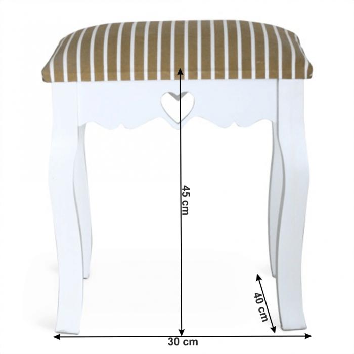 Taburet, alb/model dungat, WAGNER 1
