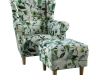 Fotoliu cu taburet, material textil model frunze verzi, ASTRID