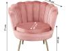 Fotoliu în stil Art-deco, catifea Velvet roz/crom auriu, NOBLIN
