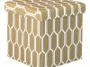 Taburet, material textil maro/alb, HAJAR