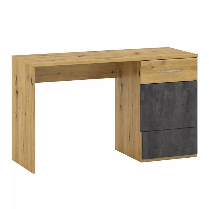 Birou P2, stejar artizanal / beton gri, ERIDAN