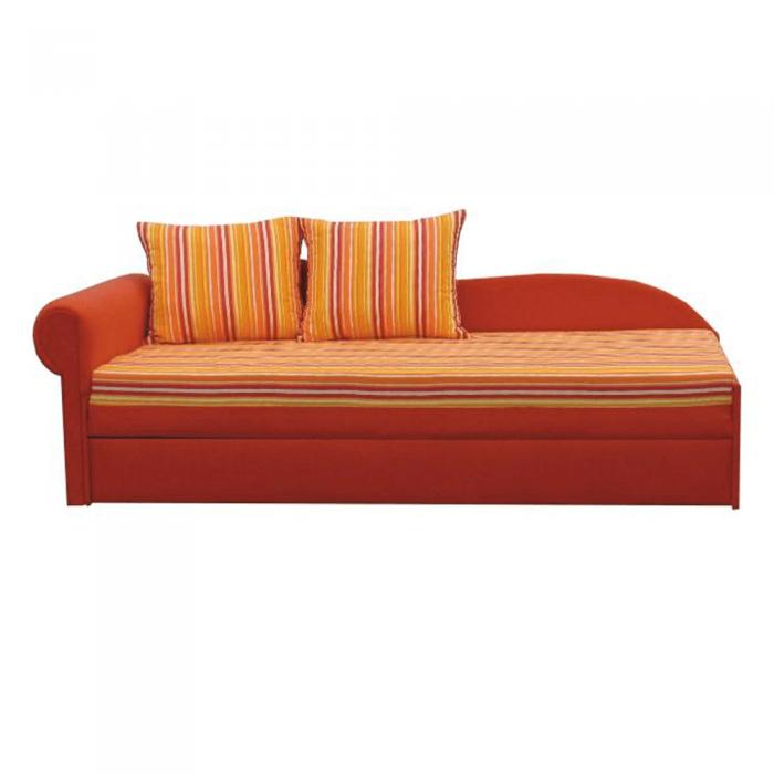 Canapea extensibilă, portocalie/cu model dungi, stânga, AGA D