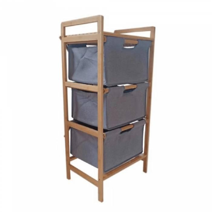 Comodă, bambus lăcuit/material gri, REGISA TYP 1