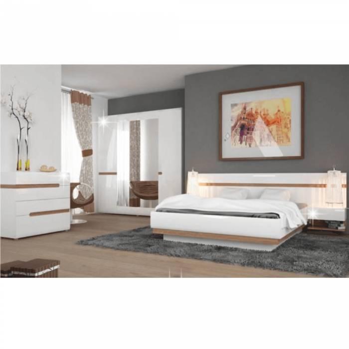 Comodă dormitor, strălucire extra albă HG/stejar sonoma închis, LYNATET TYP 44