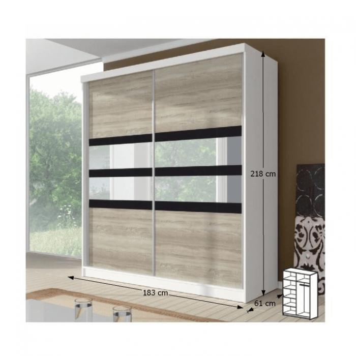 Dulap cu uşi glisante, stejar sonoma/alb/sticlă neagră, 183x218, MULTI 10