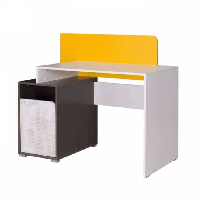 Birou B8, alb / gri grafit / enigmă / galben, MATEL