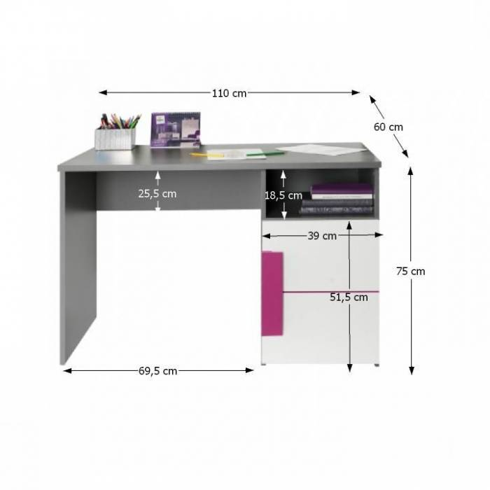 Masă PC, gri/albă/mov, LOBETE 21