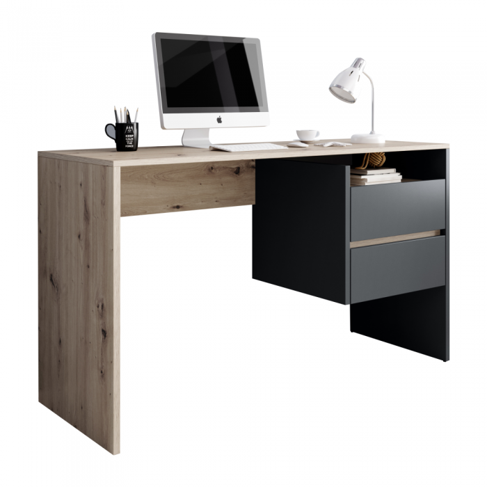 Masă PC, stejar artisan/grafit-antracit, TULIO