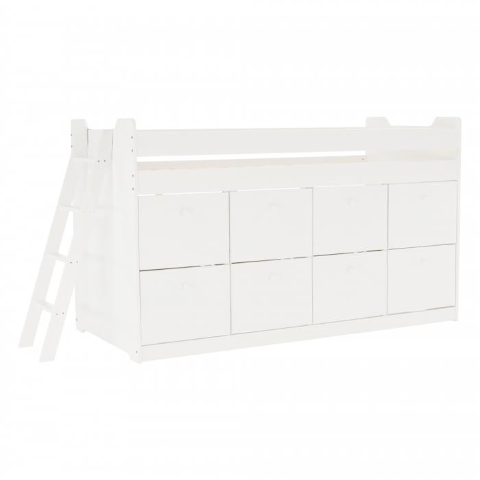 Pat, alb, lemn masiv, 90x200, JENARA