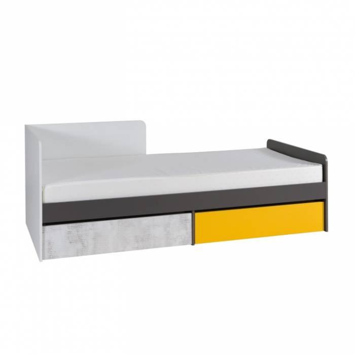 Pat cu spaţiu de depozitare B7, alb / gri grafit / enigmă / galben, MATEL