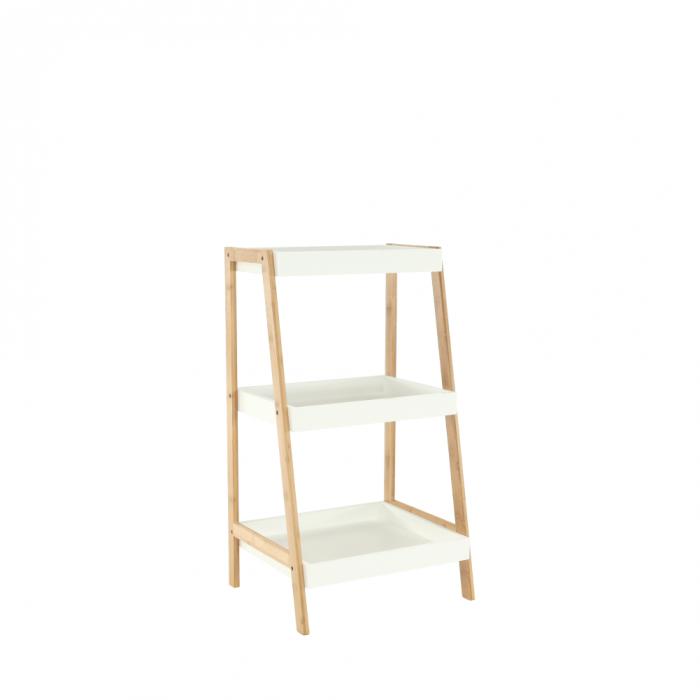 Raft, bambus lăcuit/alb, REGO 2