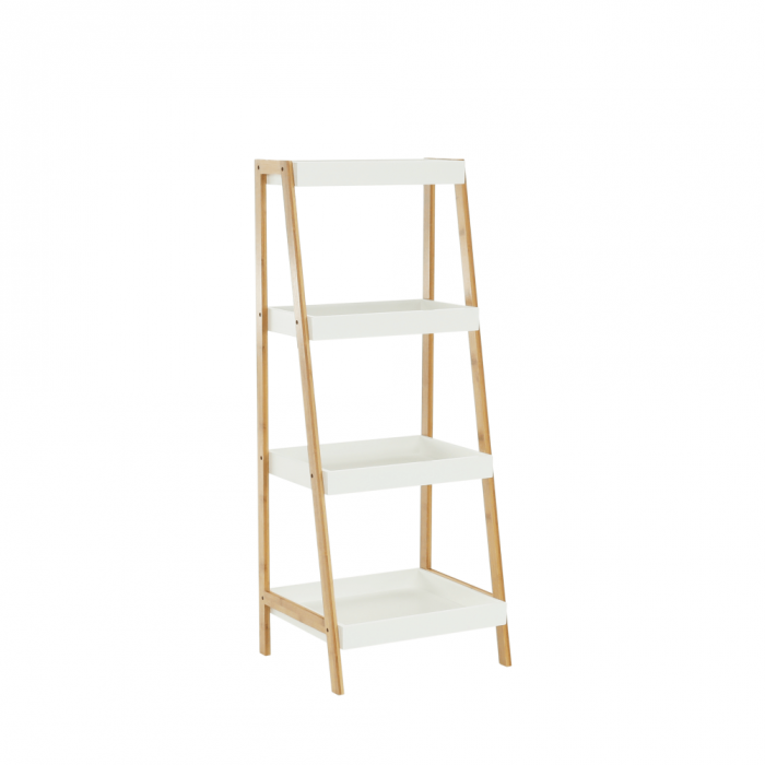 Etajeră, bambus lăcuit/alb, REGO 3