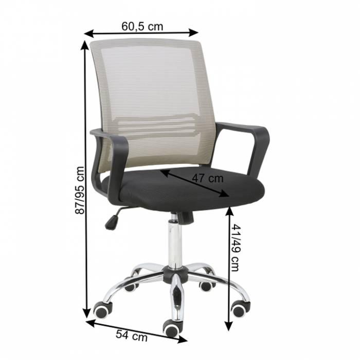Set 2 buc, scaun de birou, mesh gri-maro TAUPE/material textil negru, APOLO