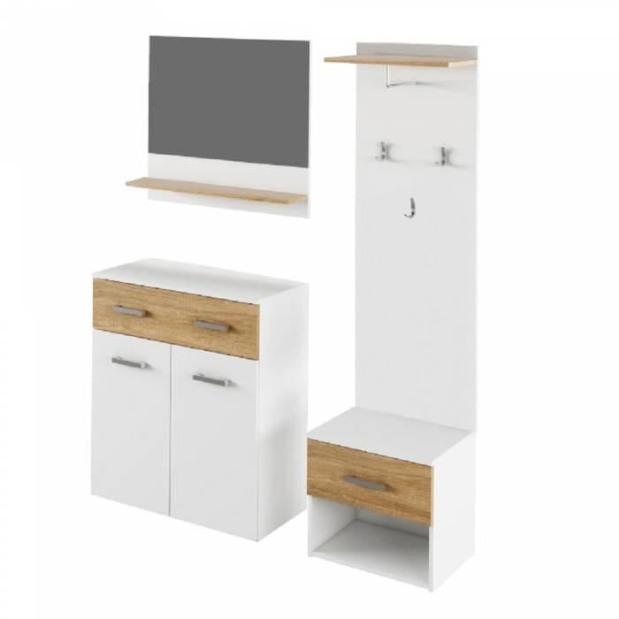 Set mobilă hol, alb/stejar sonoma, SIMA