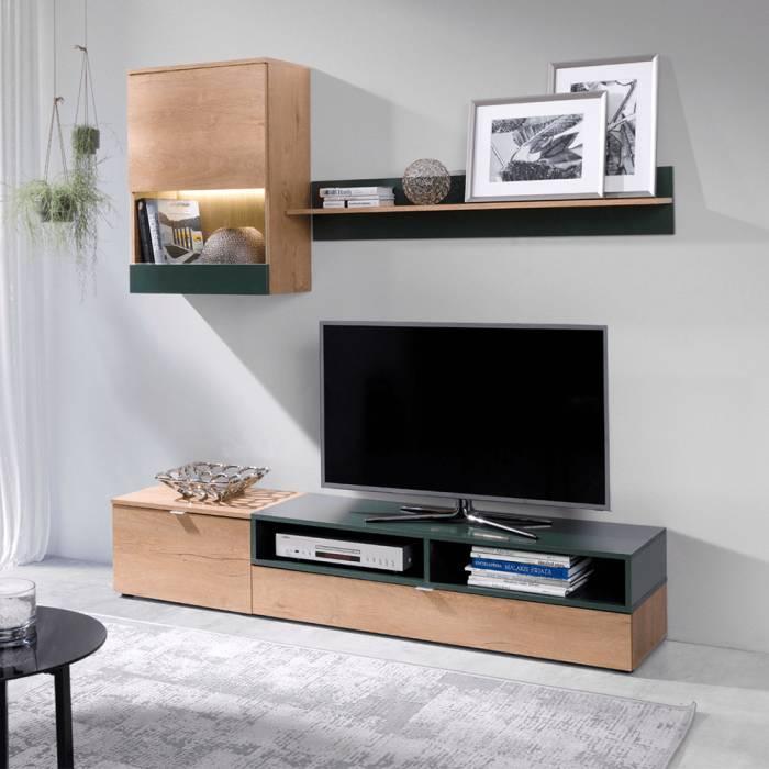 Set mobilă living, stejar lefkas/verde, ROSO