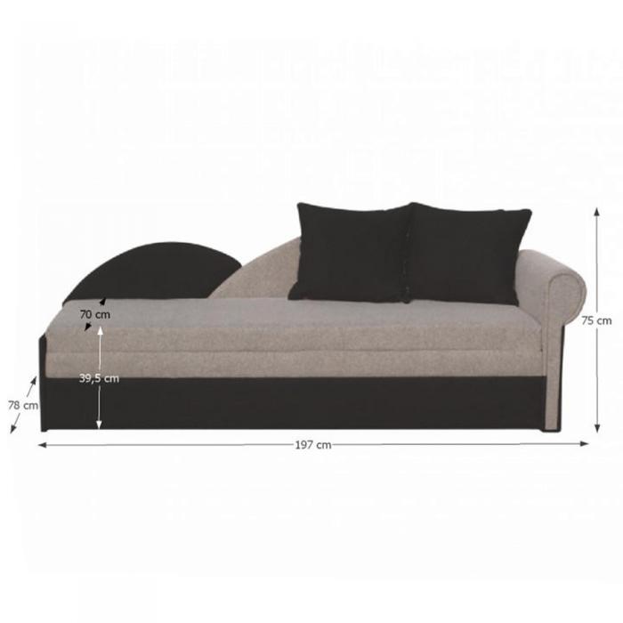 Canapea extensibilă, gri/negru, model dreapta, Diane