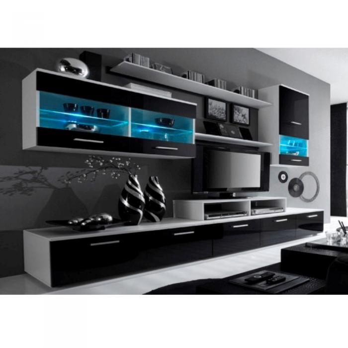 Set mobilier living, alb/extra strălucire neagră HG, LEO