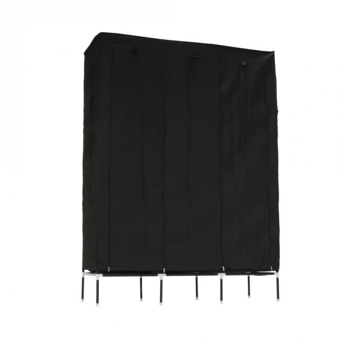 Organizator de garderobă, material textil/metal, negru, TARON VNW05