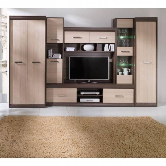 Set mobilă de living, PAL/MDF, stejar deschis/stejar închis, Korina