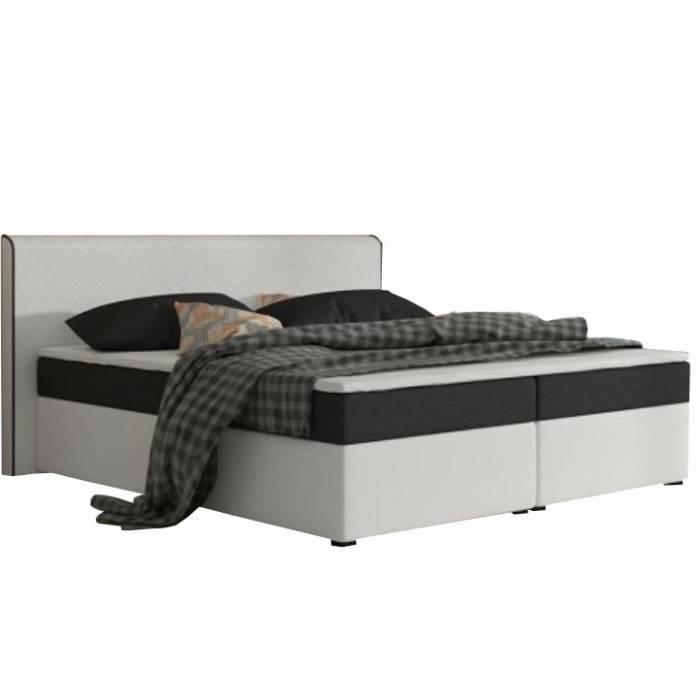 Pat dublu confortabil 160x200 cm tip ECOSPRING, piele ecologică albă/material textil negru, NOVARA MEGAKOMFORT VISCO