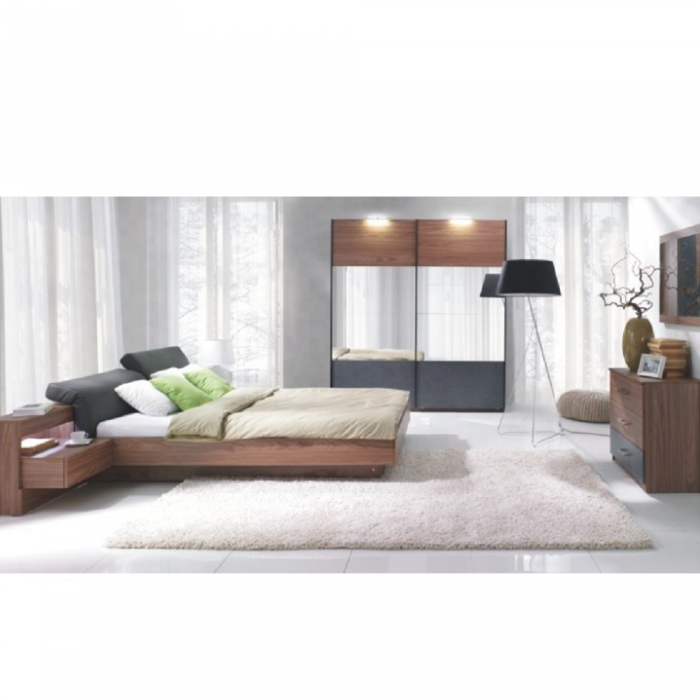 Set dormitor (dulap + pat 160x200 cu 2 noptiere), nuc/grafit, REKATO