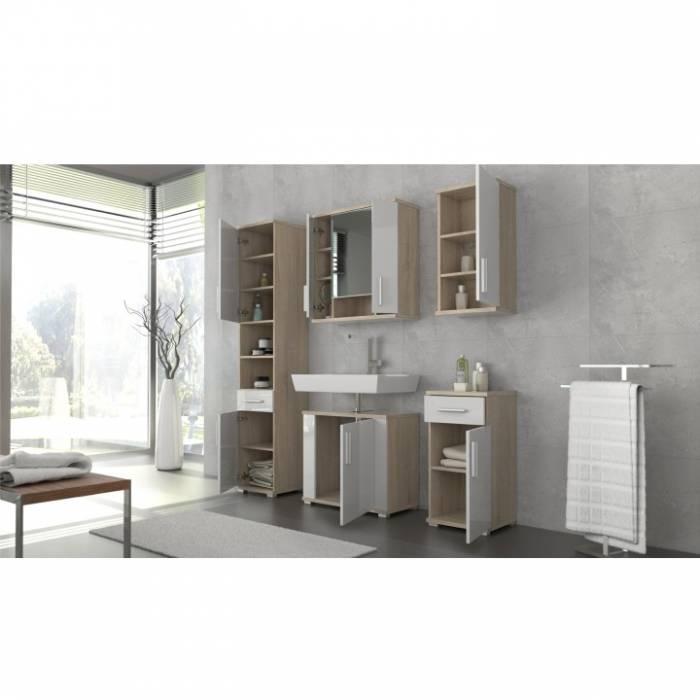 Dulap superior pentru baie, alb semi strălucire/stejar sonoma, LESSY LI 04
