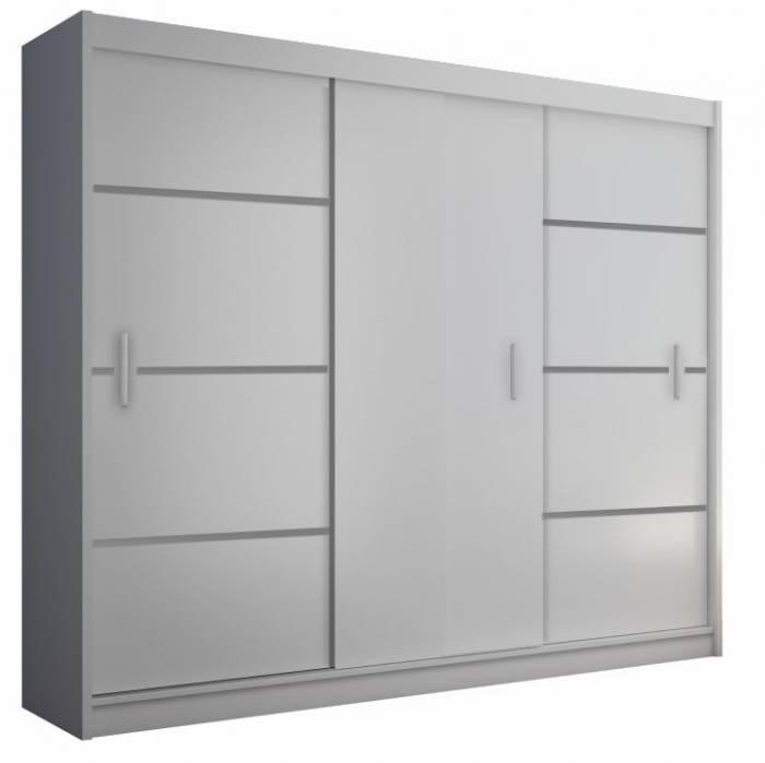 Dulap cu uşi glisante, alb/negru, MERINA 250