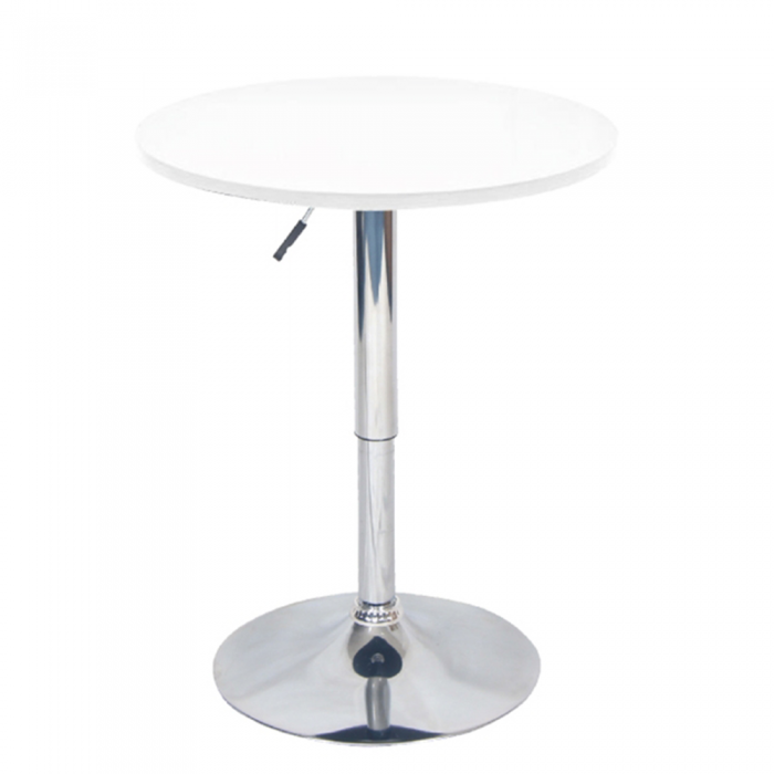 Masă de bar cu înălţime reglabilă, alb, BRANY