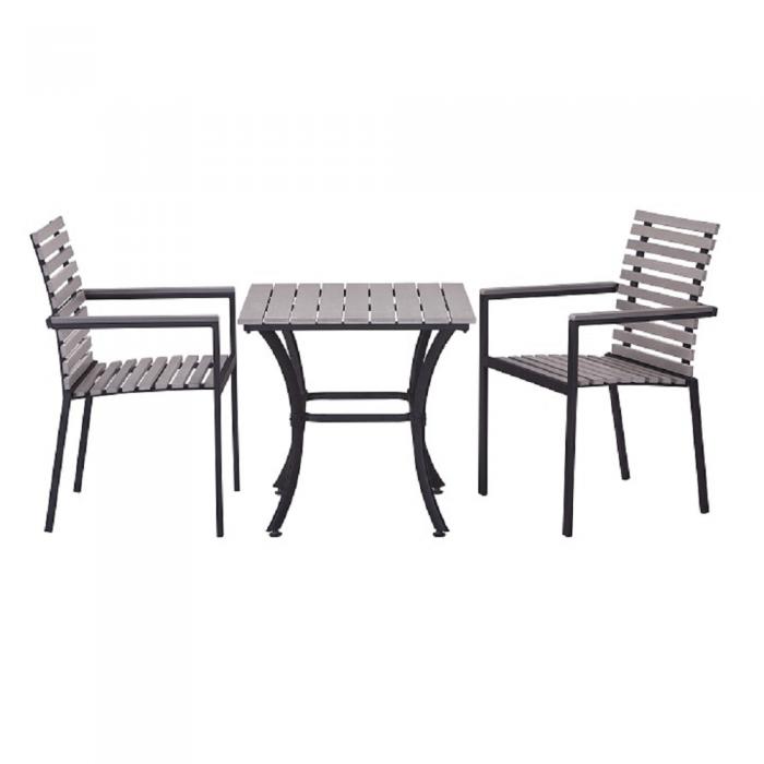 Set dining 1+2, gri deschis/negru, RONAN