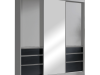 Dulap cu uşi glisante, gri/negru, 180, ROMUALDA