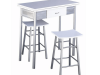 Set bar, masă + 2 scaune, albe/argintie, HOMER