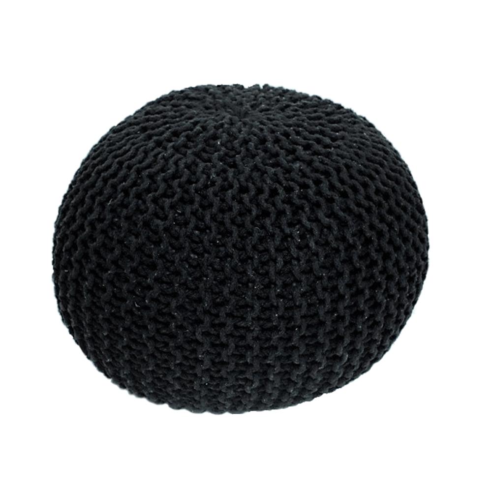 Puf împletit Gobi, 50x35 cm, bumbac, negru poza