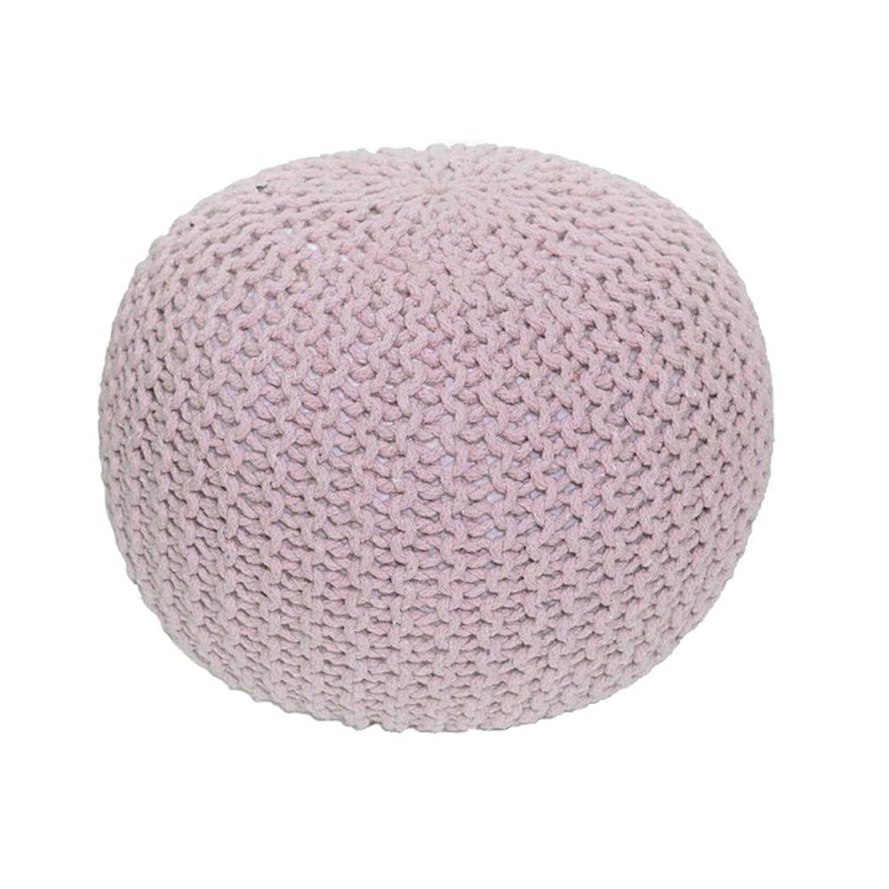 Puf împletit Gobi, 50x40 cm, bumbac, roz poza