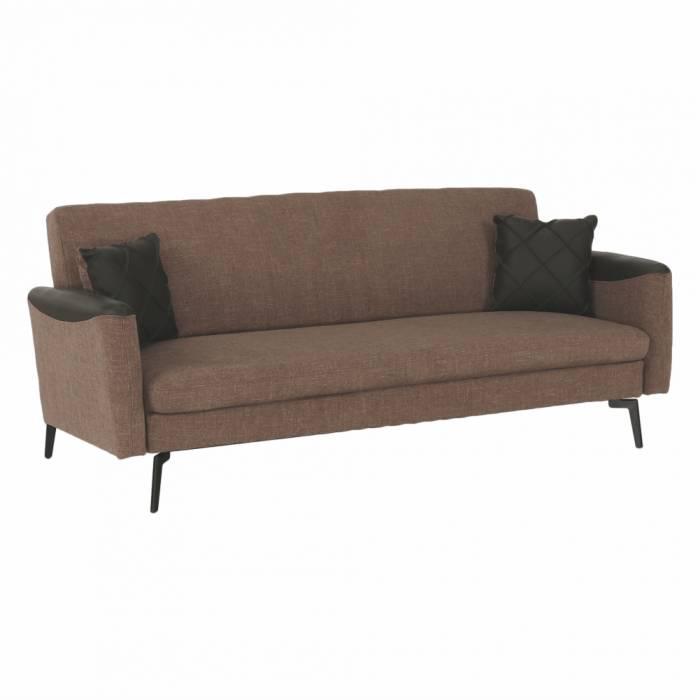 Canapea extensibilă Deta, 197x81x84 cm, textil/ecopiele, maro