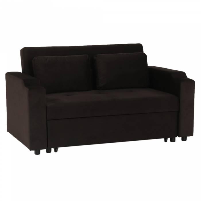 Canapea extensibilă Zamba, 150x82x91 cm, catifea, maro