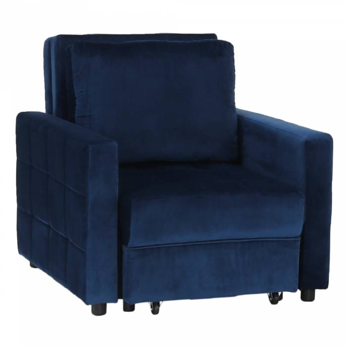 Fotoliu extensibil Pechro, 85x84x190 cm, catifea, albastru