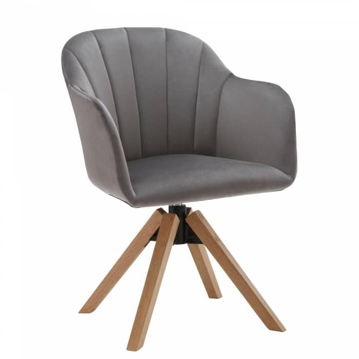 Fotoliu rotativ Dalio, 58x83x62 cm, textil, gri deschis