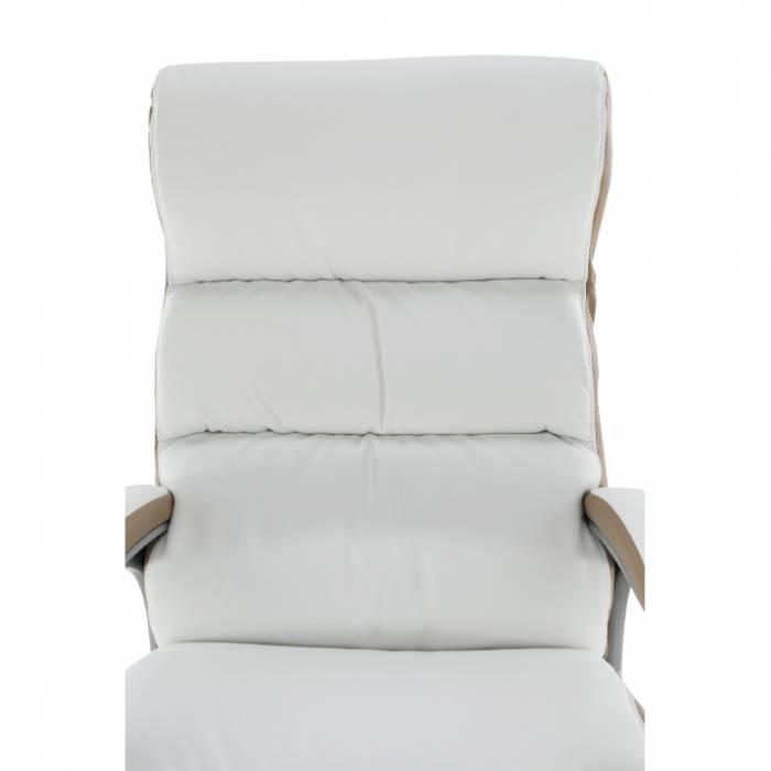 Scaun de birou Kolo, 66x77x112/120 cm, ecopiele, alb/maro
