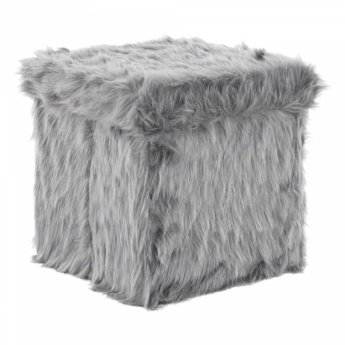 Taburet Vasav, 38x38x38 cm, blană artificială, gri închis