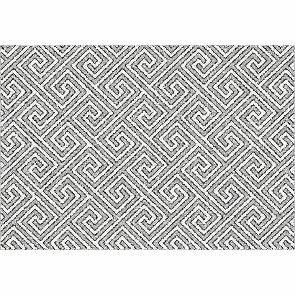 Covor Gadir, 67x120 cm, poliester, alb/gri poza