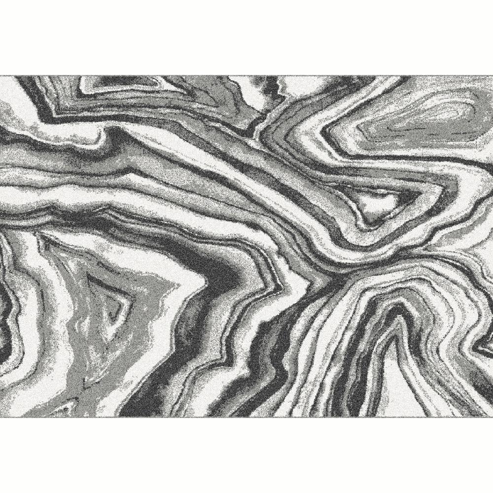 Covor Sinan, 57x90 cm, poliester, alb/negru poza