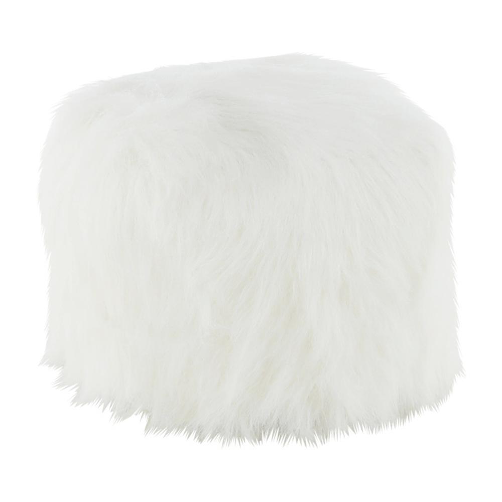 Puf Azene, 40x40 cm, blană artificială alb poza
