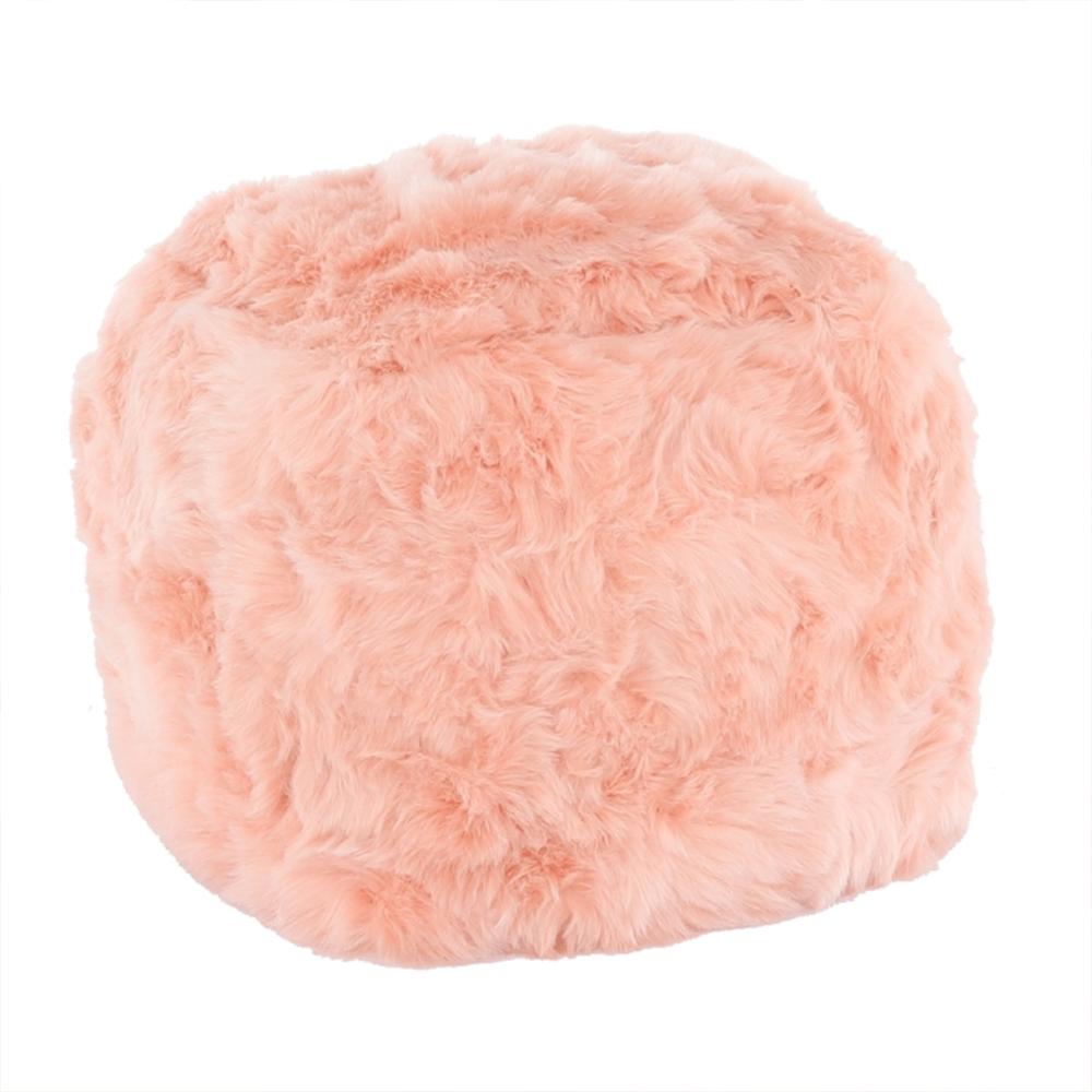 Puf Azene, 40x40 cm, blană artificială, roz poza