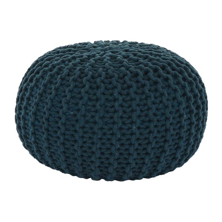 Puf tricotat Goby2, 50x35 cm, bumbac, albastru petrol poza