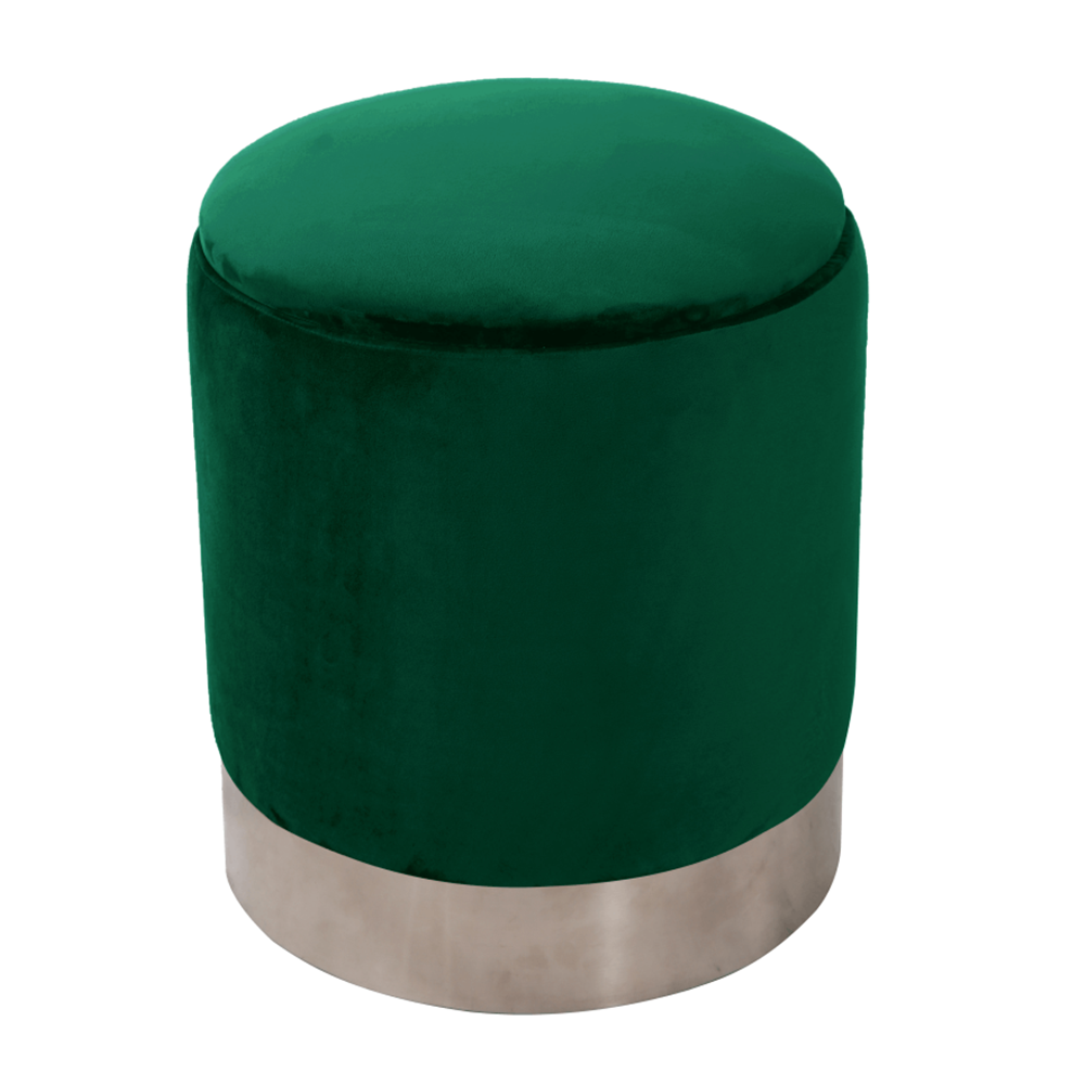 Taburet Daron, 40x45 cm, catifea/metal, verde poza