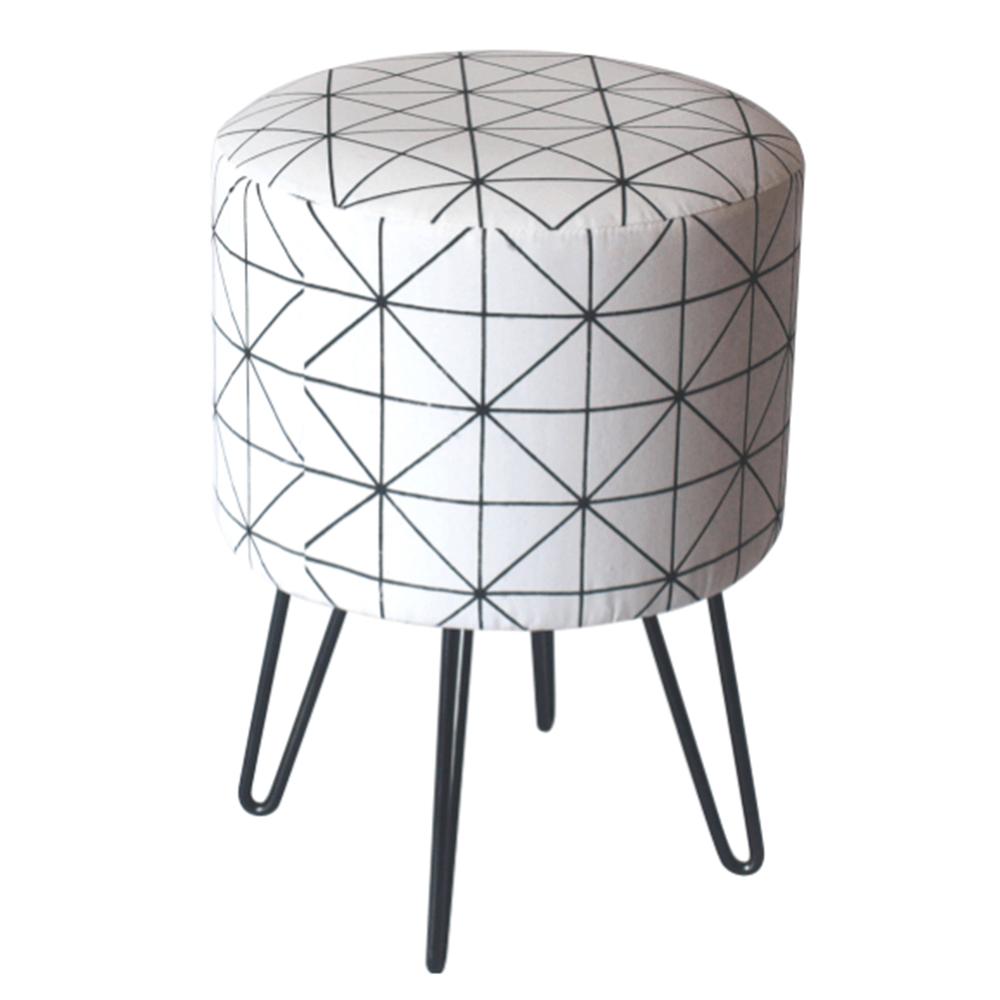 Taburet Lana, 30x30x38 cm, textil/metal, alb/negru poza