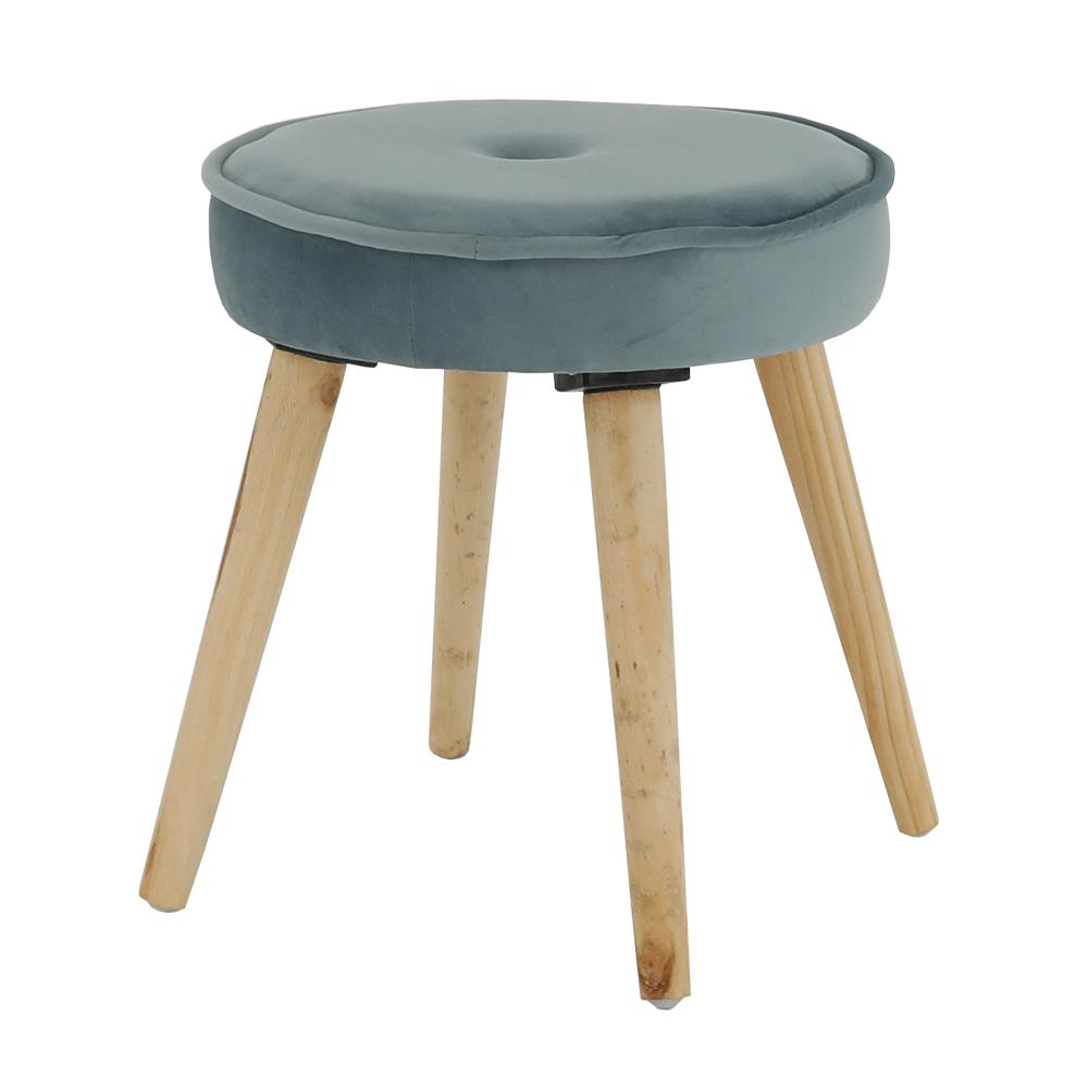 Taburet Merle, 37x37x38 cm, catifea/lemn, albastru/bej poza