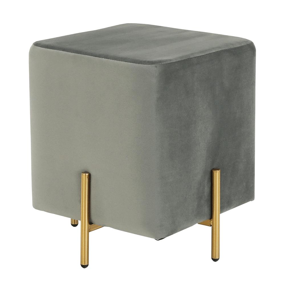 Taburet Midia, 37x37x40 cm, catifea/metal, gri/auriu poza