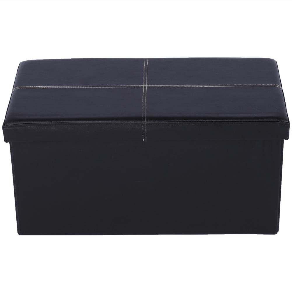 Taburet pliabil Imra, 76x38x38 cm, ecopiele, negru poza