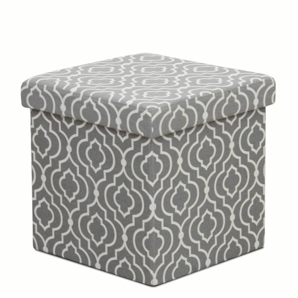 Taburet pliabil Marlo, 38x38x38 cm, textil, gri/alb poza